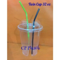 Twin Cup Duo Cup Gelas Plastik 2 in 1 Uk. 32 oz isi 25 pcs