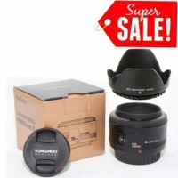 lensa yongnuo 50mm f1.8 for canon / yn 50mm f1.8 canon free Lenshood