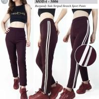 celana panjang sprot burgundy strip