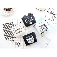 DK008 Dompet Koin Black and White Cat / Coin Wallet / Tempat Kosmetik