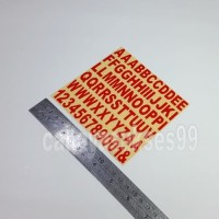 Sticker Cutting Alphabet Abjad Huruf Font ARIAL Merah 1cm X 1.6cm 1set