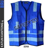 Rompi Katun Kantong 4 Safety Scotlight Proyek Kualitas Bagus Biru