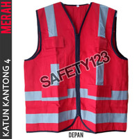 Rompi Katun Kantong 4 Safety Scotlight Proyek Kualitas Bagus Merah