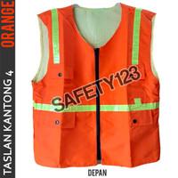 Rompi Taslan 4 Kantong Safety Scotlight Anti Air Premium Orange