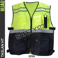 Rompi Taslan HT Kombinasi 5 Kantong Safety Vest Anti Air Hijau