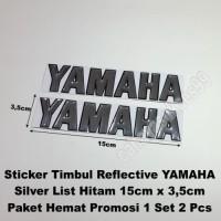 Sticker YAMAHA Timbul Emblem Silver List Hitam 15cm Stiker Body Motor