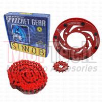 Sinnob Chain Kit Gear Set Rantai Vixion Old Colour Merah
