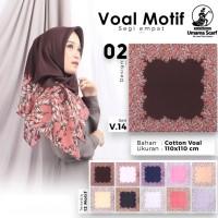 Jilbab segiempat hijab voal motif umama scaft.