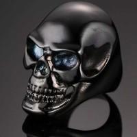 Cincin Titanium Tengkorak Hitam Black Skull Premium
