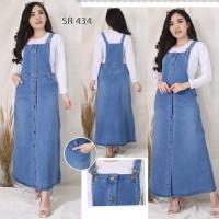 Baju Jumpsuit Overall Dress Rok Kodok Jeans Lentur Panjang S M L XL