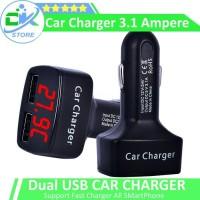 Dual Usb Car Charger 3.1A Pnp LEXI dilengkapi Voltmeter & Ampermeter