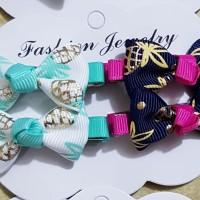 Jepitan rambut anak 4 pcs/set cocok utk gift ulang tahun seri E dan G - Putih Biru
