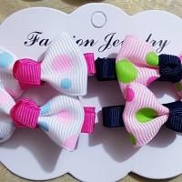 Jepitan rambut anak 4 pcs/set cocok utk gift ulang tahun seri H n B - Putih Pink B