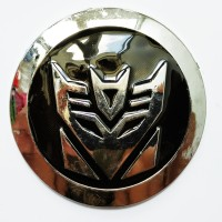 Emblem Transformers Bulat Hitam Metal