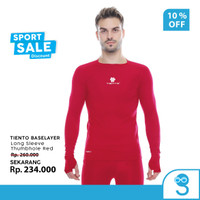 Tiento Baselayer Manset Olahraga Pria Long Sleeve Red Thumbhole