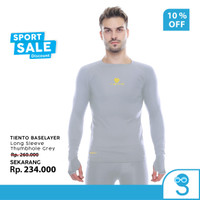 Tiento Baselayer Manset Olahraga Pria Long Sleeve Grey Thumbhole