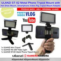 PAKET VLOG SMARTPHONE Ulanzi T-02 Metal Tripod Mount 96LED Mini Tripod