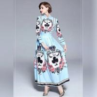 BAJUKIDDIE CLOVER MAXI DRESS BLUE . gaun lebaran pesta gamis kaftan