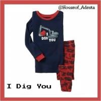Baju setelan pakaian Tidur Anak Piyama anak Laki-laki GAP size 2T