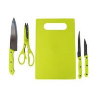 Pisau Set 5in1 / Paket Alat Dapur 3 pisau + 1 gunting + 1 talenan