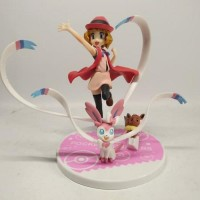 PVC POKEMON Serena and Nymphia Sylveon Figure Japan Anime Statue
