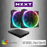NZXT AER RGB 2 - 2-Pack of 120mm RGB PWM Fans with Hue 2 Controller