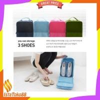 JUAL Korea Travel Shoe Pouch ver 2 Solid Color / Tas Sepatu Organizer