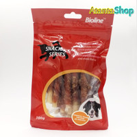 Bioline - 100g Cowheel Stick Twisted by Chicken cemilan untuk anjing