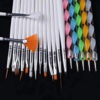 Paket kuas 15pcs + dotting tools 5pcs nail art brush set