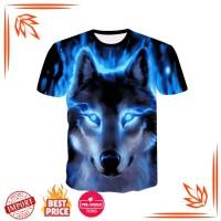 Serigala Cetak Gym Olahraga Tshirt Pria Lengan Pendek Tee Tops