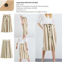 26069 Stripe Midi Skirt with Belt