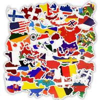 O/73 Sticker Negara Dunia untuk Dekorasi Koper Waterproof PVC Elastis