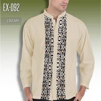 BAJU KOKO BATIK Kombinasi KREM EX-092 Baju Muslim Pria Seragam Batik