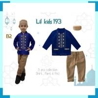 IMPORt LK193 B2 Baju Koko Muslim India Anak Biru Tua Lengan Pendek