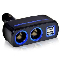 PROMO! Car Charger Cigarette 2 Socket with 2 USB 5V 231A - SW-1918