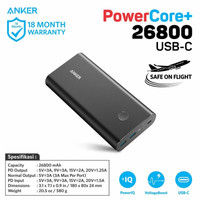 Powerbank ANKER PowerCore+ 26800mAh USB-C [A1375012] -RESMI-