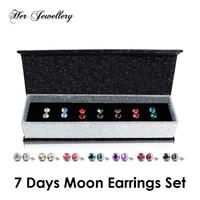 7 Pairs Moon Earrings set - Anting Crystal Swarovski by Her Jewellery