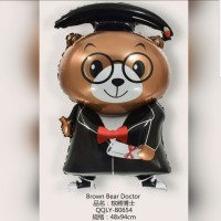 Balon Foil Wisuda Brown/ Balon Bear Graduation/ Balon Congrats Grad