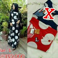 Dannis Abaya Polkadot Baju Muslim Perempuan Gamis Jubah