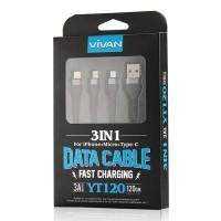FD168 - KABEL DATA VIVAN YT120 3in1 USB MICRO-LIGHTNING-TYPE C FAST CH