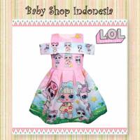 Dress Anak Cewek Murah LOL Dress Anak Import Off Shoulder Softpink LOL