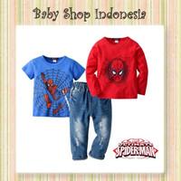 Setelan Kaos Anak Cowok Lengan Panjang Baju Anak Spiderman Jeans Anak