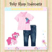 Setelan Kaos Kerah Anak Little Pony Pink Celana Panjang Softjeans Anak