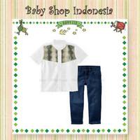 Setelan Baju Koko Anak Import Putih Ketupat Celana Panjang Jeans Anak
