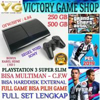 PS3 PS 3 PLAYSTATION 3 SUPER SLIM 500GB OFW + FULL GAME + BERGARANSI