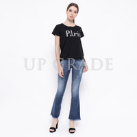 UPGRADE Bootcut Jeans with Distressed Hem in Navy