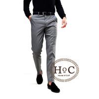 Celana Bahan formal Kerja pria Slim fit abu medium pants trouser