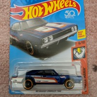 hot wheels '69 Dodge charger 500, 215/365, 50th 6/10 biru