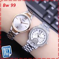 BUY1 GET 1 FREE Jam Tangan Wanita Guess &Aigner Tanggal On-Gold Silver
