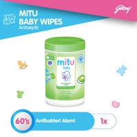 Mitu Baby Wipes Antiseptic Oval [Bottle 60'S]